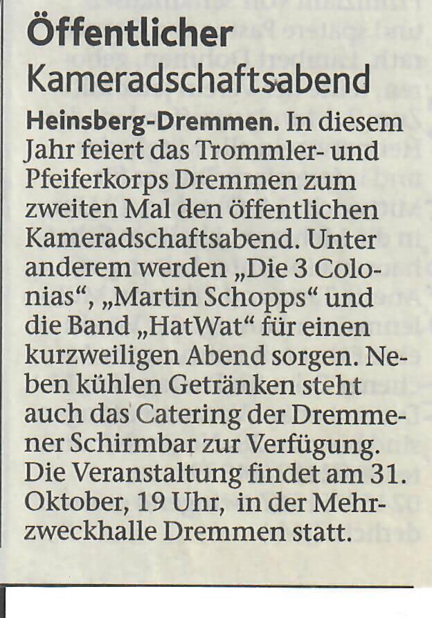 Heinsberger Volkszeitung 07.10.2015